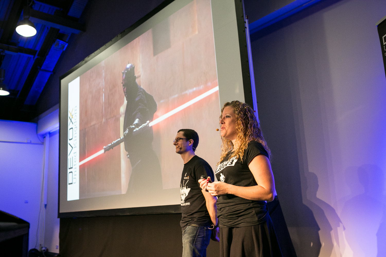 Photo of Trisha and Daniel presenting at Devoxx